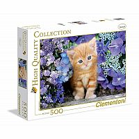 500 Piece Ginger Cat in Flowers Puzzle